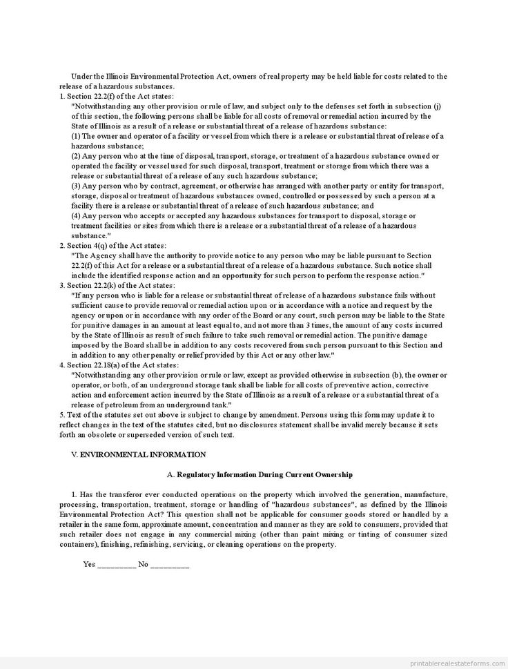 Printable illinois environmental disclosure document for transfer of template 2015