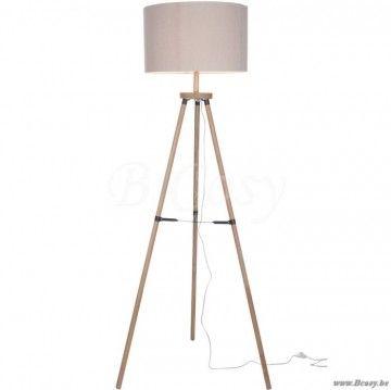 J-Line Houten staande lamp 3 poot driepikkel beige hout 160H