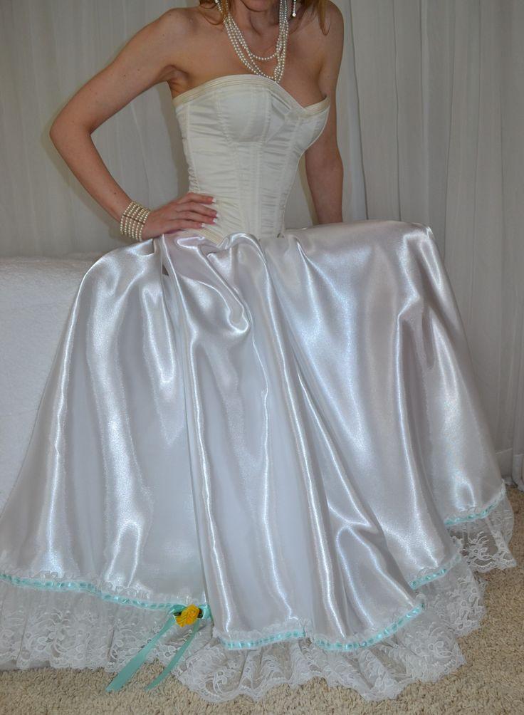 1000 images about bridal white satin lingerie on for White silk slip wedding dress