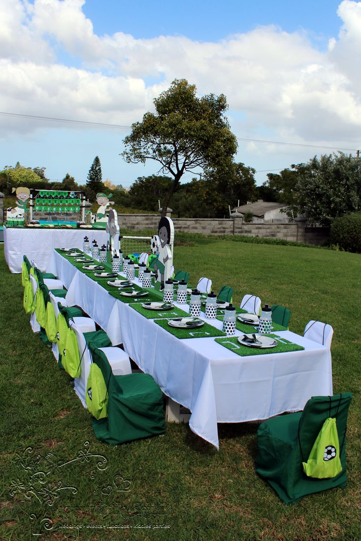 Soccer Party Kiddies Table Setup #soccer
