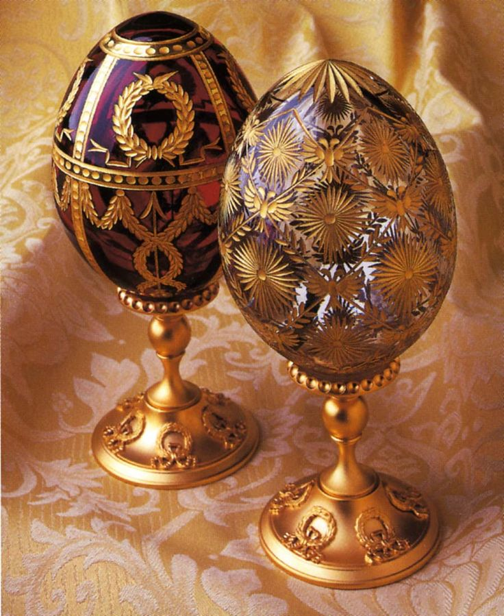 Faberge Eggs: Mouth blown and copper wheel engraved crystal egg with 24k hand-painted gold decoration.