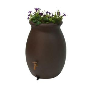 Algreen Castilla Brownstone 50 gal. Decorative Rain Barrel with Planter-81313 at The Home Depot
