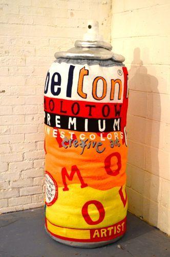 Lucy Sparrow | Urban felt artist  Giant spray can. Influence exhibition 2014  www.artinmacclesfield.co.uk