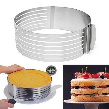20cm Adjustable Slice Layered Stainless Steel Round Ring Baking Circular Mold Bakeware Cheap - NewChic Mobile.