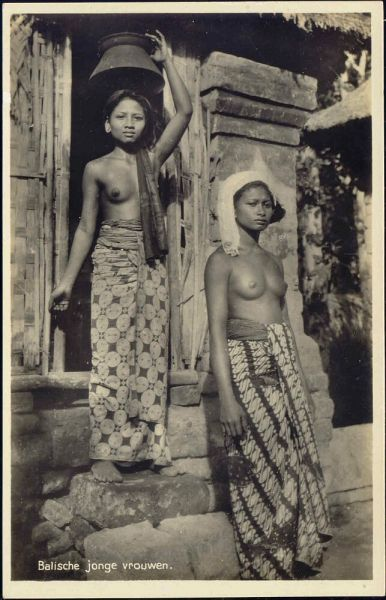 indonesia,  BALI, Native NUDE Girls Head Transport (1930s) RPPC