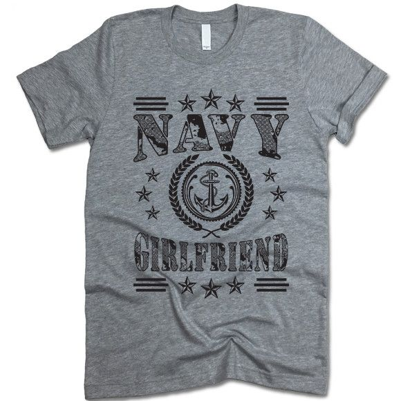 """The listing is for one short-sleeve UNISEX crewneck t-shirt with """"Navy Girlfriend"""" design. Please refer to the size chart below (laying flat measurements in inches) if you want to measure it against o"""