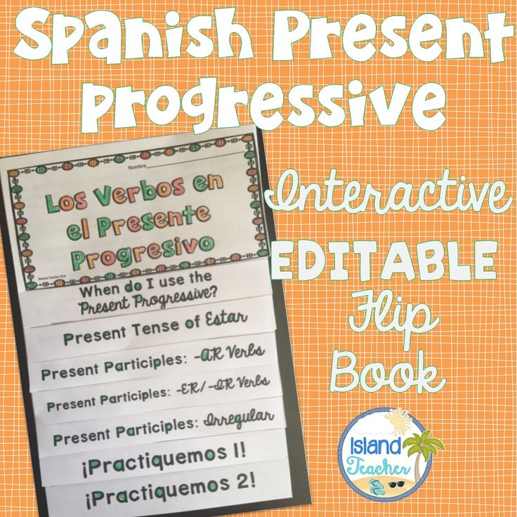 Flip book to practice Spanish present progressive. Works great with interactive notebooks.