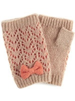 coral bow trim lacy knit cut off