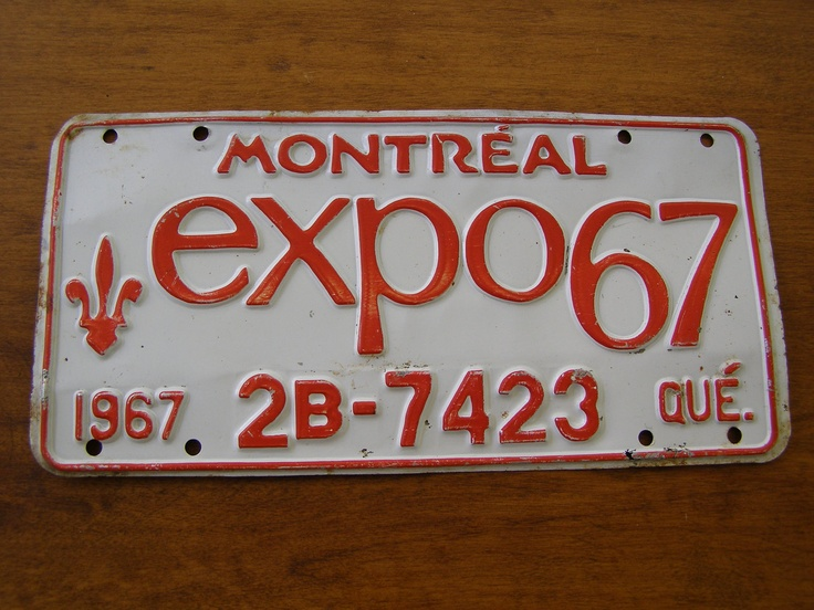 Montreal Quebec Expo67 car license plate 1967 World's Fair. $16.00, via Etsy. Vintage wall art!