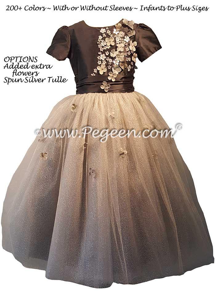 fea3ab52ed Medium Gray Silk and Tulle flower girl dresses