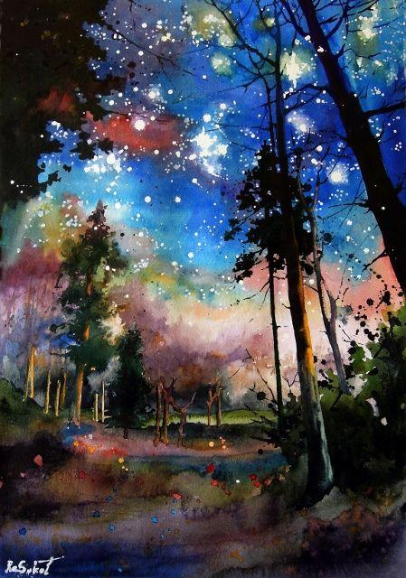 Forest stars – bright watercolor, sokolova anna, night landscape, trees, magic, romantic mood