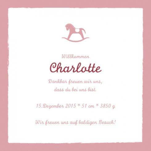 Geburtskarte Kleines Pferdchen by Tomoë für Geburtskarten.com #Spielzeug #Schaukelpferd #Geburtsanzeige