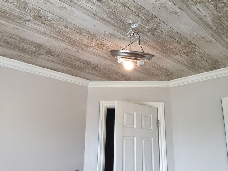 The 25 best wallpaper ceiling ideas on pinterest for Faux wood ceiling planks