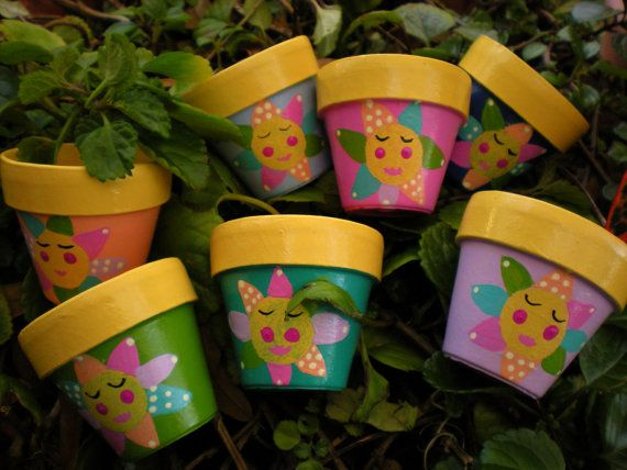 Childrens Birthday Party Flower Pots  by HappyMooseGardenArt, $3.00