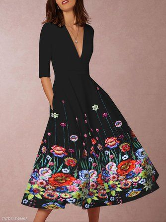 581b0222f6 Justfashionnow Party Dresses Floral Dresses Daytime A-Line V Neck Half  Sleeve Holiday Printed Dresses