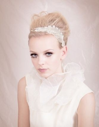 accessories, beauty, updo, headband, sparkly, floral print, shabby chic, victorian, alternative, romantic, glamorous, elegant, avant-garde, hair, makeup, wedding, bride