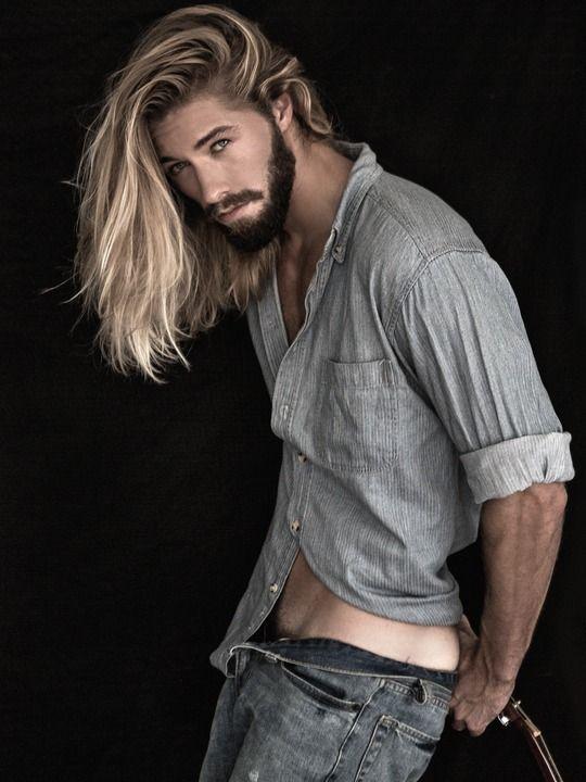 AUSTIN DAVIS. I love his complete look, denims, denim shirt, his long hair and full beard.