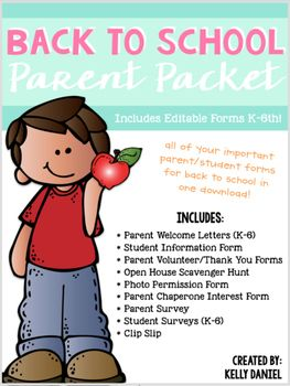Its that time again for Back To School and that means getting organized and prepared for the year ahead. First things first: meeting your families and collecting tons of information before the first day of school. Get organized this school year with this complete Parent Pack download!Includes:+ Parent Welcome Letters (K-6th)+ Student Information Form (Color & B&W)+ Parent Volunteer & Thank You Forms (Color & B&W)+ Open House Scavenger Hunt Activity (includes blank template...