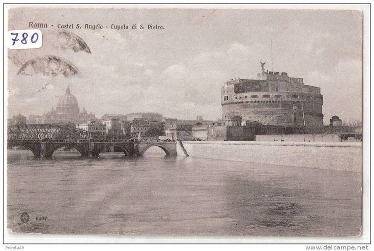 780) CARTOLINA  DI-  ROMA -CASTEL S.ANGELO  FORMATO PICCOLO   VIAGGIATA  1909 -  COME DA FOTO - Roma