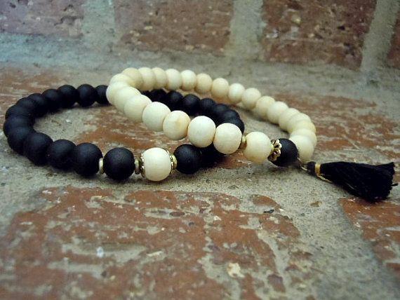 Yin Yang Wrist Mala / Yoga Bracelet / Wrist Mala Set / by Syrena56, $38.00