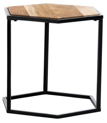 CoCo Mumbai Beistelltisch Schwarz Tischplatte Natur Holz Einzelmöbel kika
