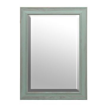 Distressed Teal Framed Mirror, 31x43