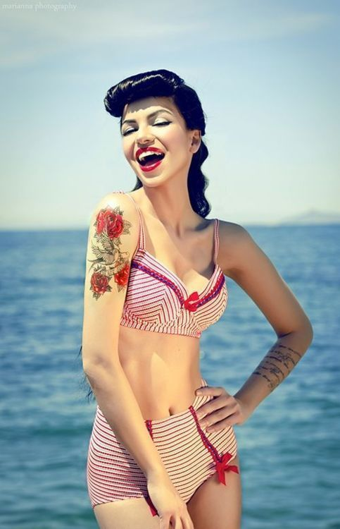 yüksek bel vintage bikini