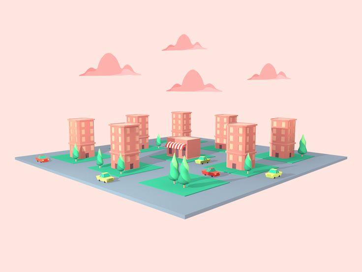 3d flat city