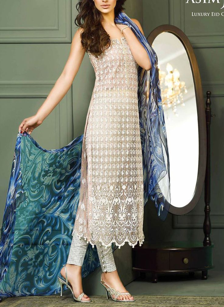 Buy White/Peach Embroidered Net Dress by Asim Jofa 2015.