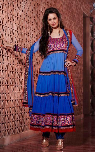 USD 88.6 Blue Faux Georgette Designer Salwar Kameez 30135