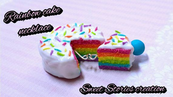 rainbow cake necklace - food miniature necklace - polymer clay jewelry by Sweet Stories creation