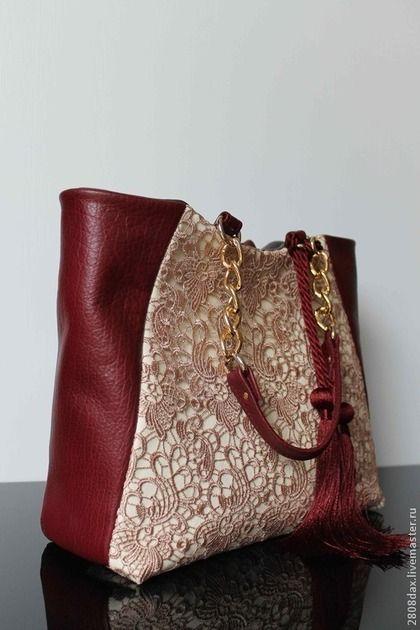 Женские сумки ручной работы. Ярмарка Мастеров - ручная работа Сумка кружевная, кожа, вишневый, кожаная сумка, шоппер. Handmade.