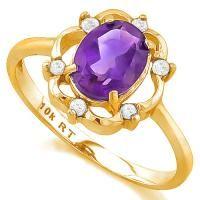 FOXY !  1.22 CARAT AMETHYST & DIAMOND 10KT SOLID GOLD RING