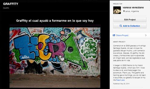 Comenzó en el 2005 gracias a mi amigo Santiago Suarez, él cual vió que me gustaba dibujar mucho, y ahi comenzo la aventura. Gracias. El graffity me dió cosas y formaciones que no aprendes en ningún lado, por eso agradezco que sea parte de mi vida.It began in 2005 thanks to my friend Santiago Suarez, which saw him I liked to draw a lot, and there began the adventure. Thank you. The graffiti and training gave me things you do not learn it anywhere, so grateful to be part of my life