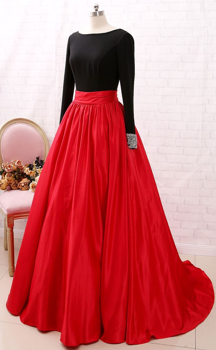 MACloth Long Sleeves Beaded Black Red Ball Gown Prom Dress Formal