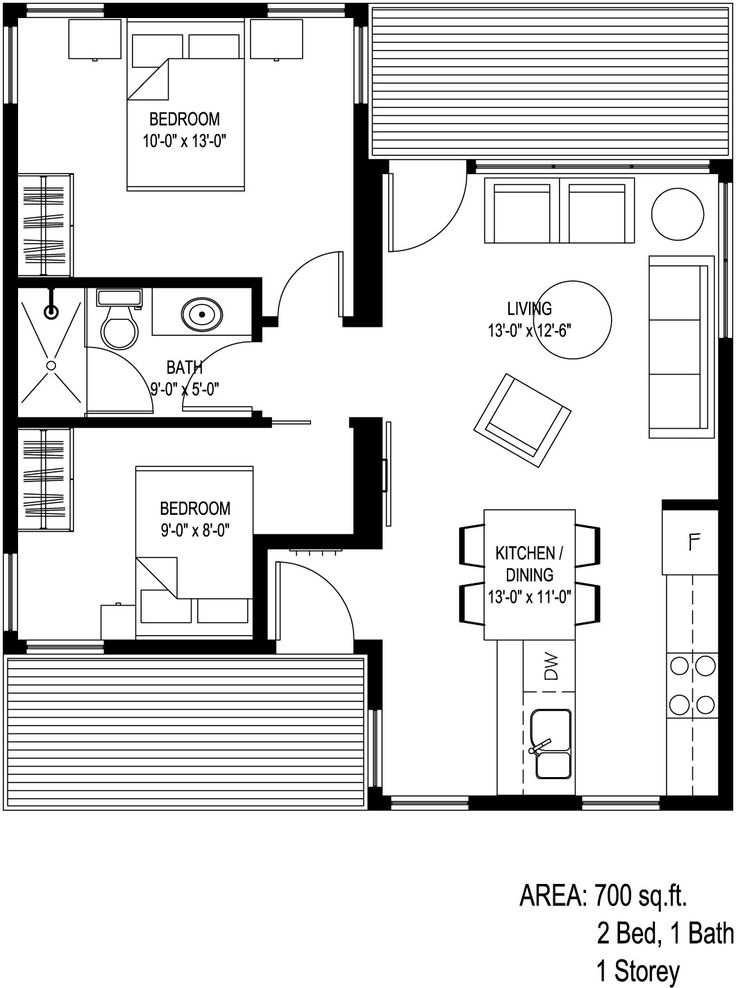 Wow! Here is a great 2 bedroom floorplan with a front and back porch! I see lots of flow & entertaining options. However, I'd like a master bath where the back porch is located and wrap the porch around the back.
