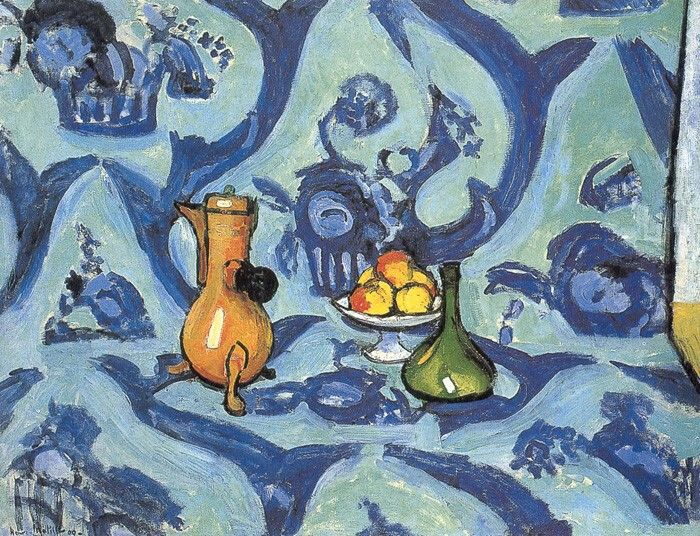 Still Life with a Blue Tableclothe  88 x 118 cm.  Hermitage Saint Petersburg 1909