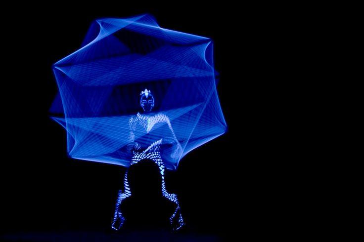 Black light juggler with cube - Anta Agni UV LIGHT Show http://antaagni.com/uv-light-show/