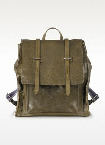 $2,165, Green Canvas Backpack: The Bridge Ascott Olive Green Leather Backpack. Sold by Forzieri. Click for more info: https://lookastic.com/men/shop_items/85598/redirect