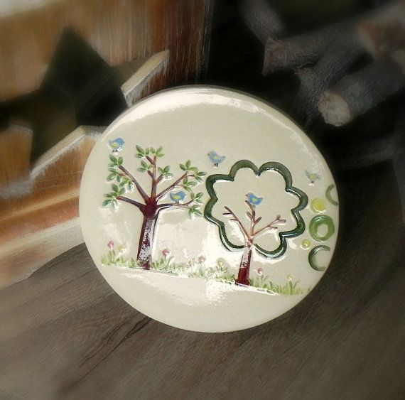 Woodland Jewelry Dish White Ceramic Plate Little Blue by Ceraminic