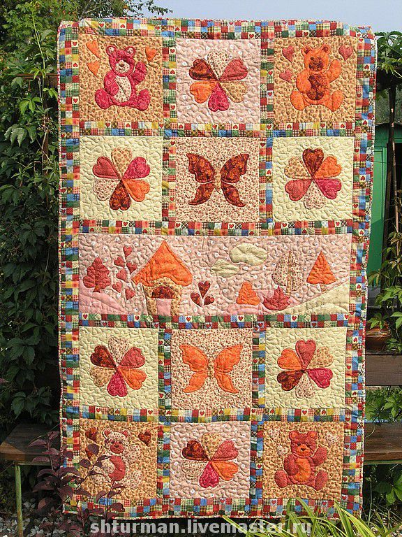"""Купить Детское одеяло """"Осенние краски"""" - пэчворк, лоскутное одеяло, лоскутное покрывало, подарок для детей"""