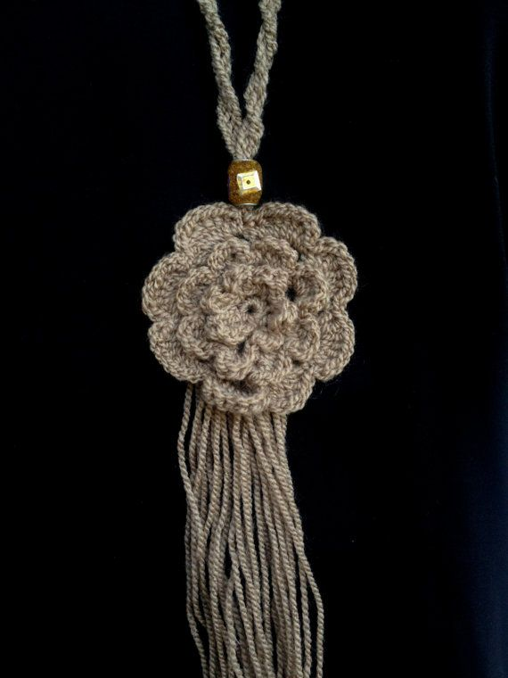 Crochet flower necklace handmade crochet by PixiesFairies on Etsy
