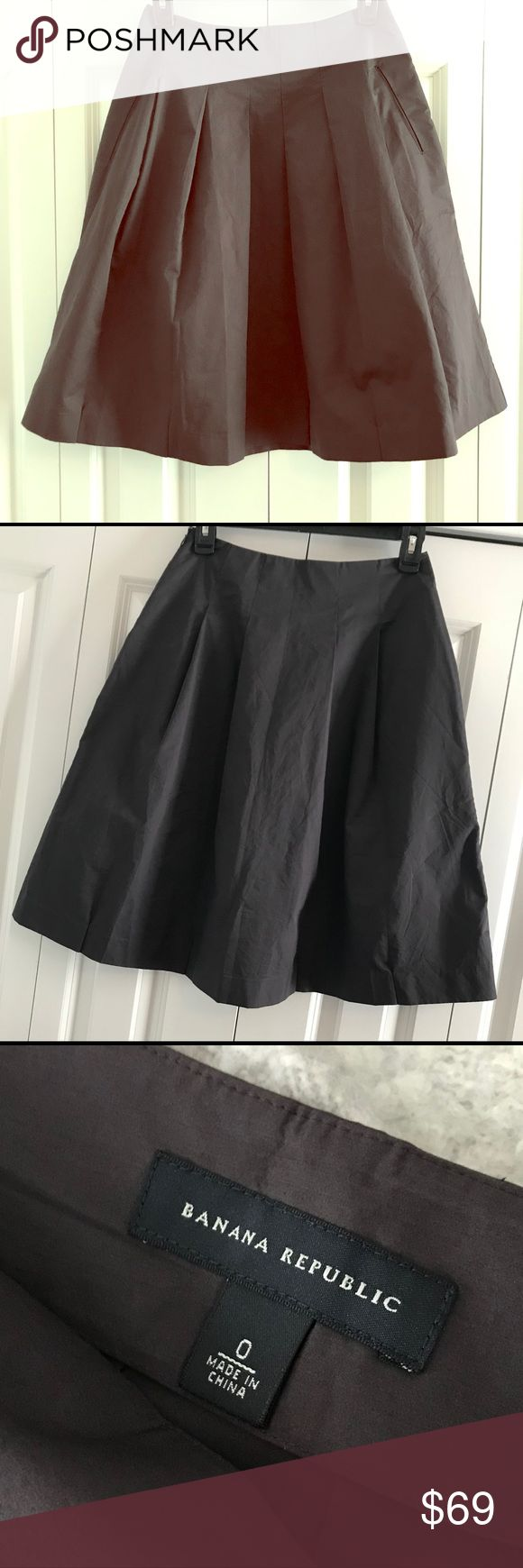 Deep Plum Banana Republic Skirt Beautiful dress skirt with side zip and pockets in a gorgeous deep plum color (does not show well in pictures). Detailed pleating around hip line. Has a slight sheen to the material. I dressed it up with a crisp collared shirt and some chunky retro heels. Size 0. In excellent condition. Smoke free/pet free home. Zero flaws!!! Banana Republic Skirts
