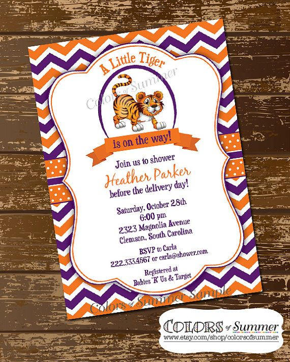 Clemson Baby Shower Invitation Clemson Tigers  by colorsofsummer, $15.00