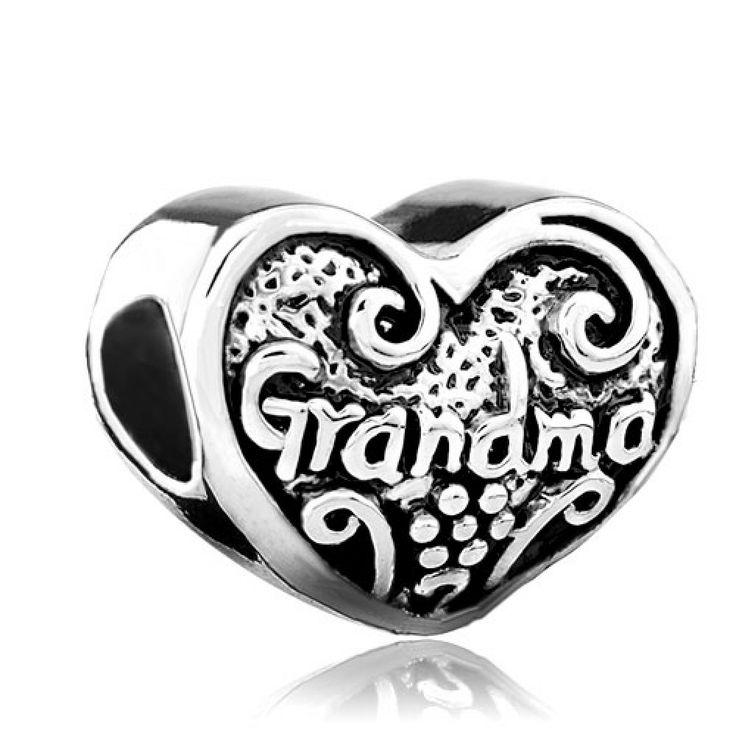 Heart Love Grandma Charm Bead Beads & Charms Bracelets Pandora Chamilia Compatible | Charmsstory.com #grandma #pandora #charms #heart #love
