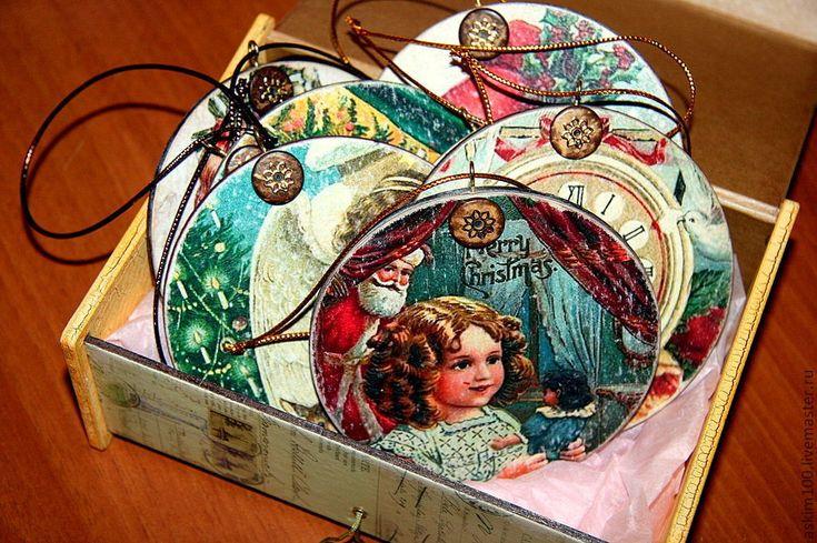 Купить Рождественские ретро подвески - деревянные елочные, елочные игрушки, елочные подвески, игрушки на елку