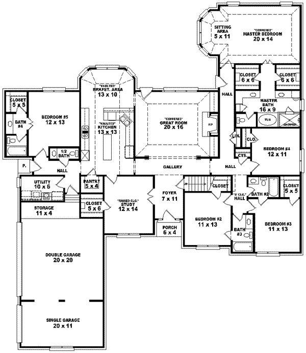 Traditional Style House Plans - 3105 Square Foot Home, 1 Story, 5 Bedroom and 4 3 Bath, 3 Garage Stalls by Monster House Plans - Plan 6-1573