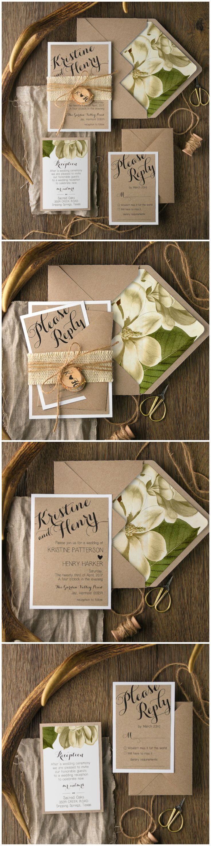 are labels on wedding invitations tacky%0A Magnolia Floral Wedding Invitations with birch bark tag  u     burlap  magnolia   floral  flowers