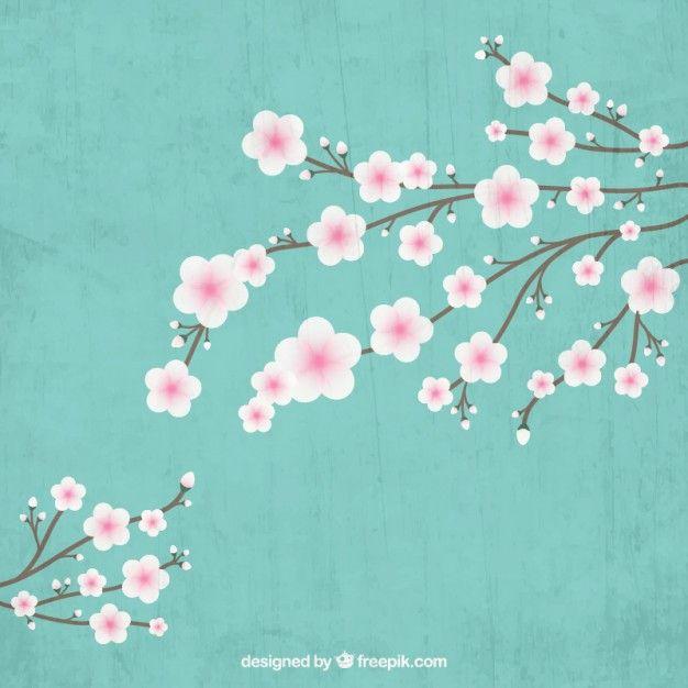 floreciente rama de árbol del cerezo Vector Gratis