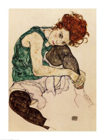 """Finding love in this soft colour scheme """"The Artist's Wife"""" by Egon Schiele. :art.com"""